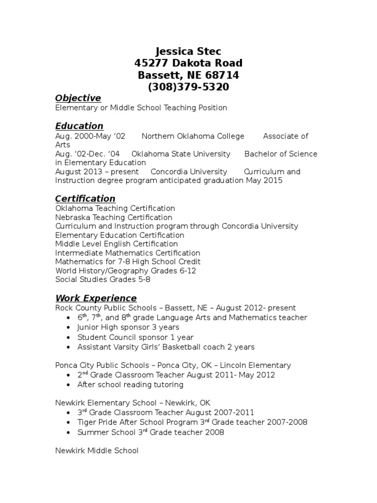 Jessica Stec Resume Primary Education Middle Schools