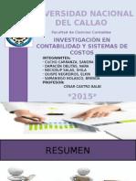 Investigación en Contabilidad y Sistema de Costos