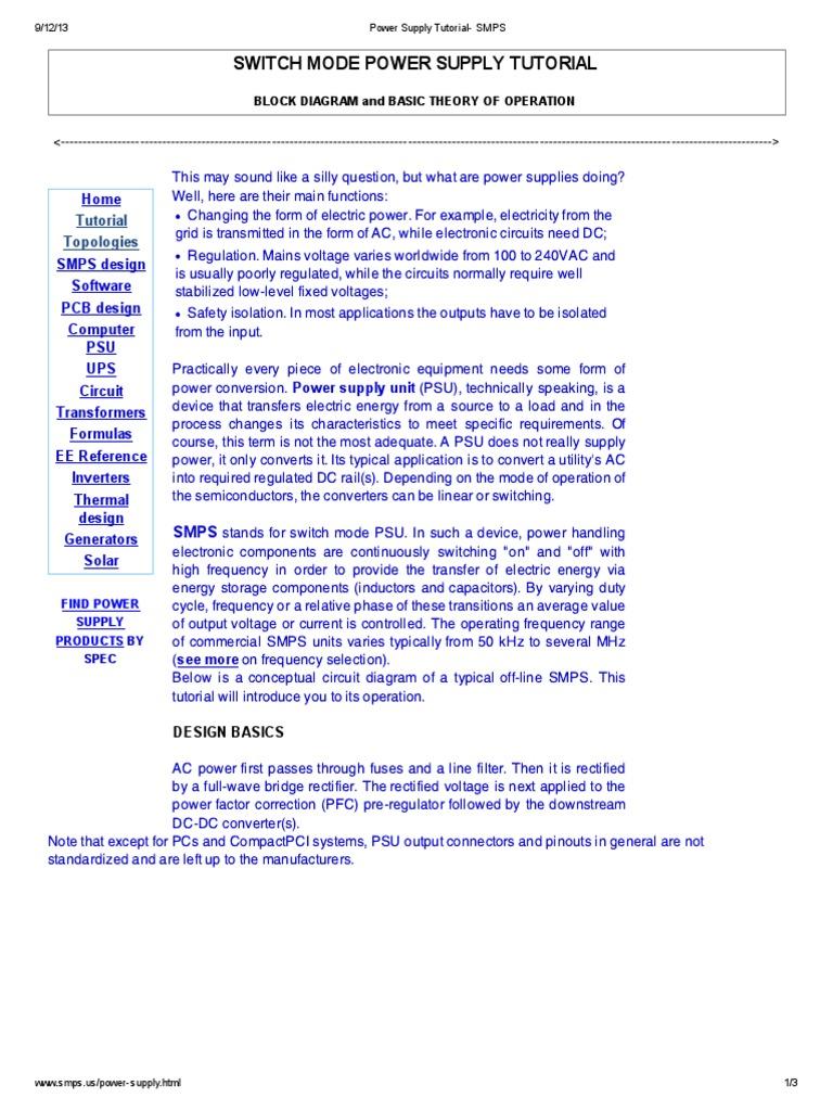 Smps Block Diagram And Working Pdf - Diagram