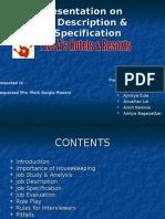 Presentation on Job Description & Job Specification