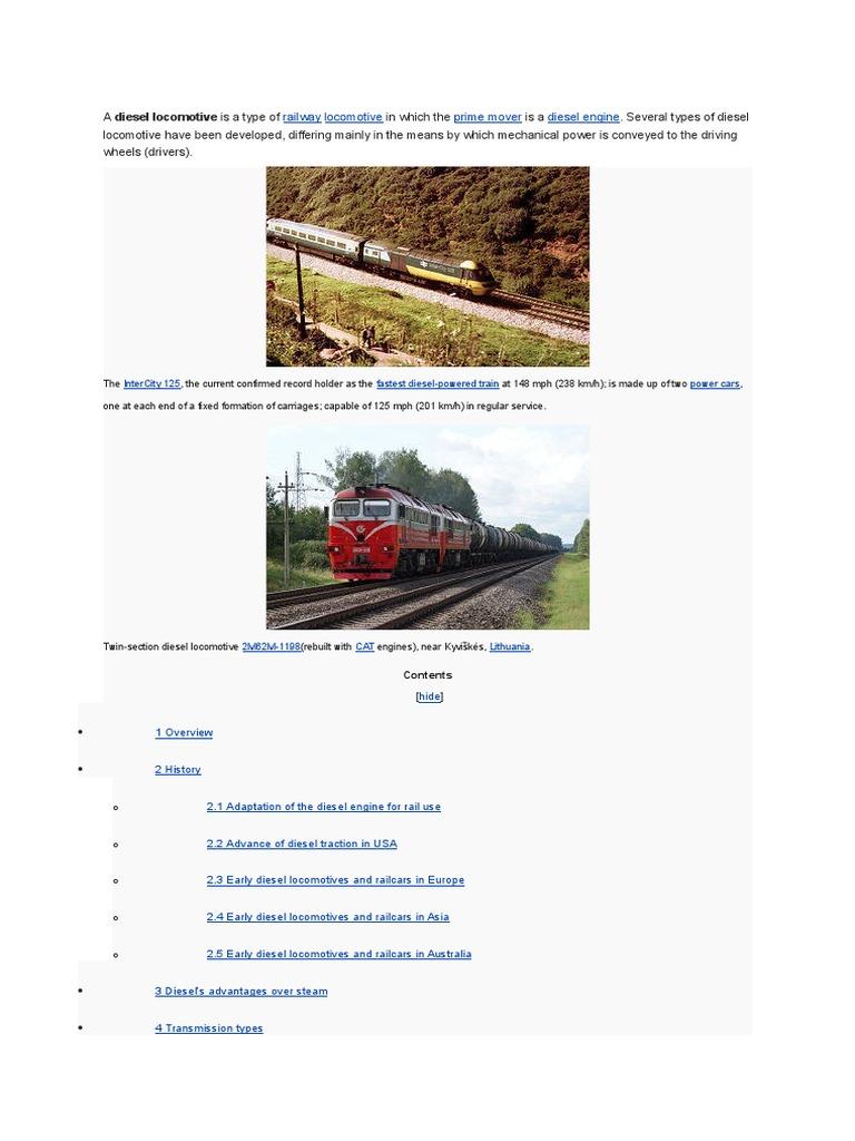 Diesel Loco   Transmission (Mechanics)   Steam Locomotive