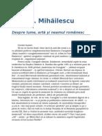 Dan C. Mihailescu-Despre Lume, Arta Si Neamul Romanesc