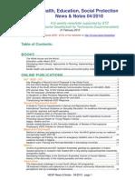 Health, Education, Social Protection News & Notes 04/2010