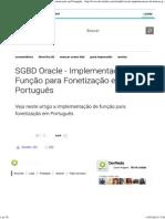 SGBD Oracle - Implementação de Função Para Fonetização Em Português