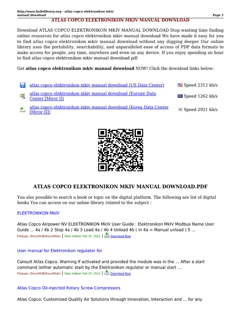 atlas copco elektronikon mkiv rh pt scribd com Atlas Copco Mk5 Atlas Copco 2202 8420 00