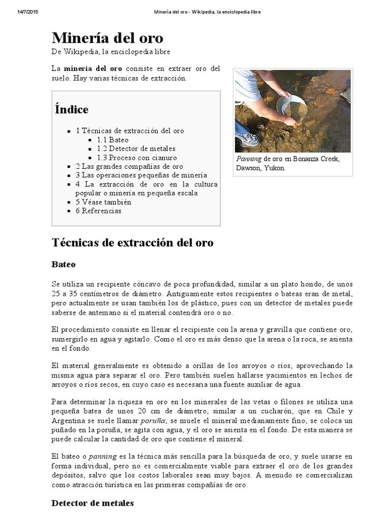 a7e845ba7 Minería Del Oro - Wikipedia | Minería de oro | Elementos químicos