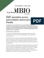 13-07-2015 Diario Matutino Cambio de Puebla - RMV Garantiza Acceso Universitario Universal en Puebla
