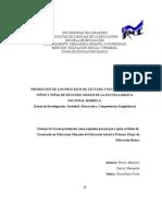 PROMOCIÓN DE LOS PROCESOS DE LECTURA Y ESCRITURA  EN LOS NIÑOS Y NIÑAS DE SEGUNDO GRADO DE LA ESCUELA BÁSICA NACIONAL BÁRBULA