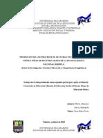 Promocion de Los Procesos de Lectura y Escritura en Los Niños y Niñas de 2do Grado de La e.b.n Barbula