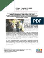 Boletín 032_ Secretaría Departamental de Salud Trabaja en La Prevención Del Dengue y Chikunguña en Zonas Endémicas Del Cauca