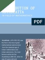 Contribution of Aryabhatta