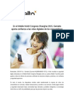 En El Mobile World Congress Shanghai 2015, Gemalto Aporta Confianza a Las Vidas Digitales de Los Consumidores