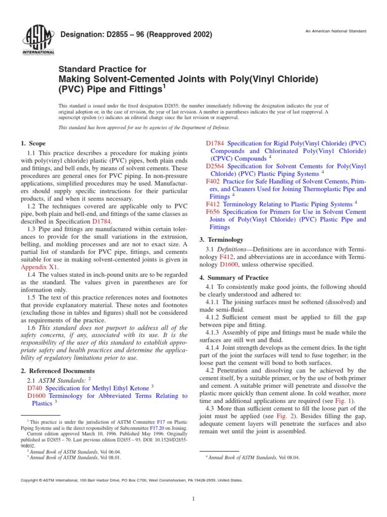 Astm D2855 Polyvinyl Chloride Pipe Fluid Conveyance