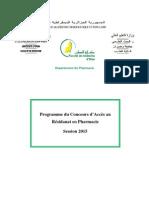 1programme Résidanat Pharmacie 2015