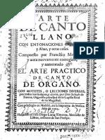 Montanos Arte de Canto Llano Ed Torres 1705