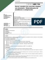 NBR 07184 - Blocos Vazados de Concreto Simples Para Alvenaria - Determinacao Da Re
