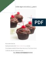 Cupcakes de Chocolate Negro Con Cereza y