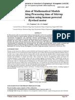 Formulation of Mathematical Models for establishing Processing time of Stirrup making operation using human powered flywheel motor