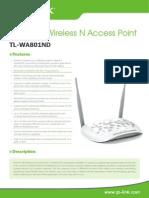 TP-LINK WA801ND Datasheet