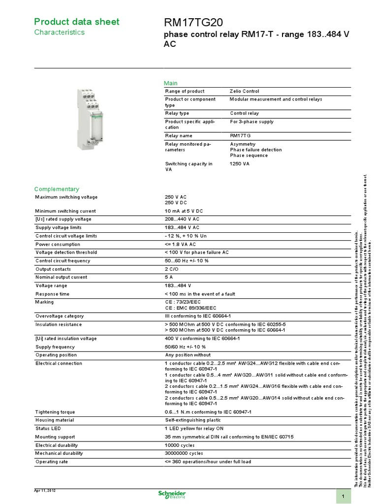 Zelio Control Rm17tg20 Relay Alternating Current Switching Of