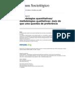 Sociologico Metodologias quantitativas