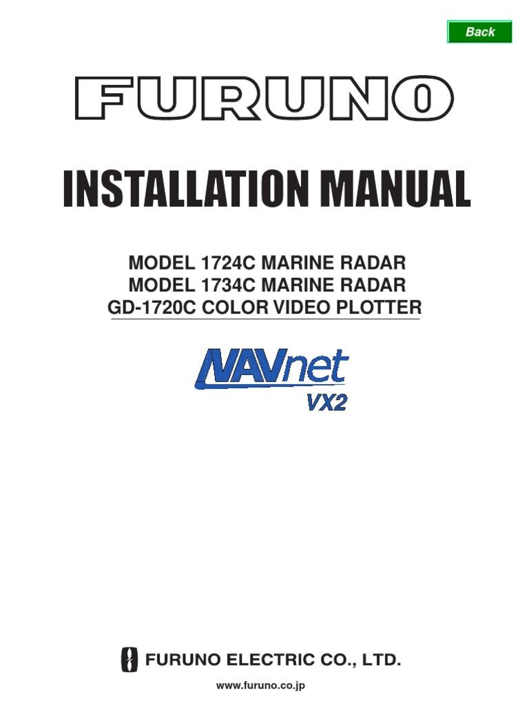 Furuno Radar1724C 1734C GD1720C Installation Manual | Screw | Electrical  Connector