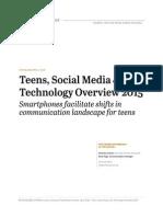 Teens, Social Media & Technology Overview 2015ndTech Update2015 0409151