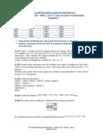 1fase Nivel1 Gabarito 2015