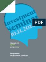Investment Seminar Programm