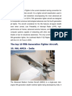 Top 10 Fifth Generation Fighters