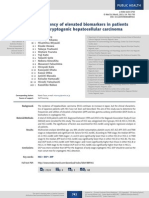 Frequency of elevated biomarkers in patients with cryptogenic hepatocellular carcinoma