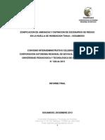 Zonificacion de Amenazas y Definicion de Escenarios de Riesgo en La Huella de Inundacion Tunja