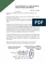 Carta de Invitacion Iglesia Católica San José de La Aldea Sichivilá