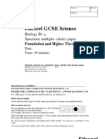 GCSE Science Biology Specimen Multiple Choice Paper B1a
