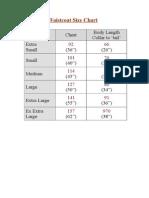 Waistcoat Size Chart
