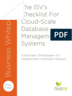 Whitepaper ISV Checklist for Cloud Scale DBMS