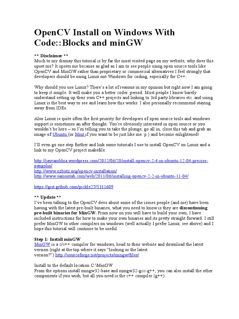 OpenCV Install on Windows With CodeBlocks | Library