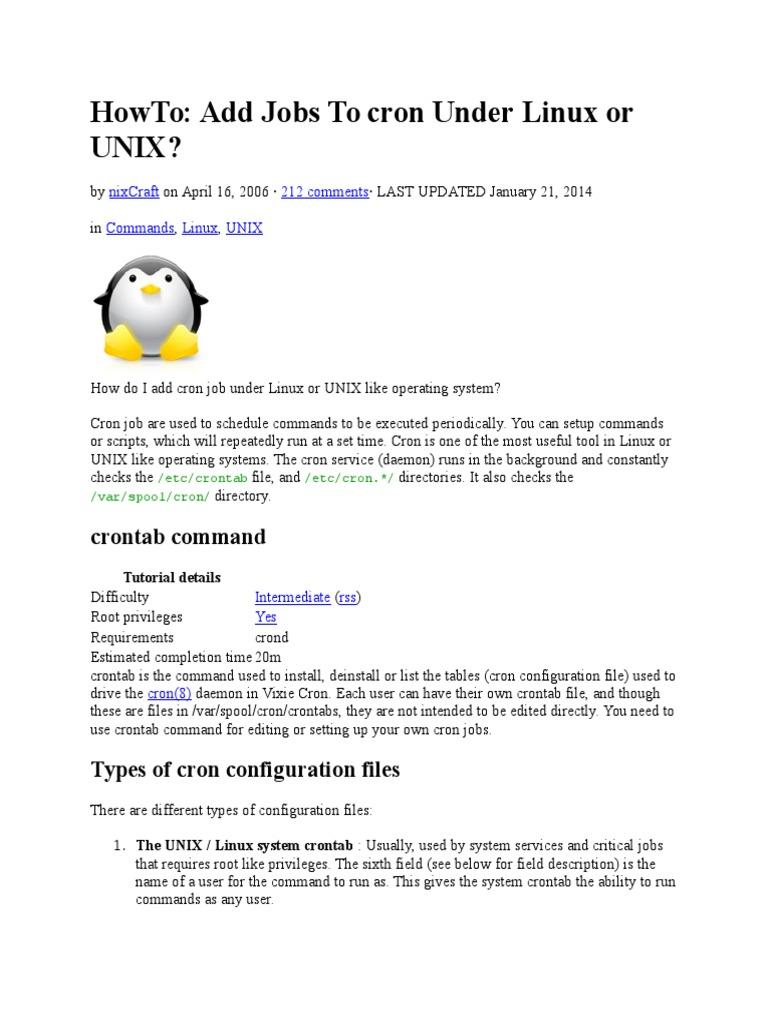 Cron Tab Operating System Technology Unix