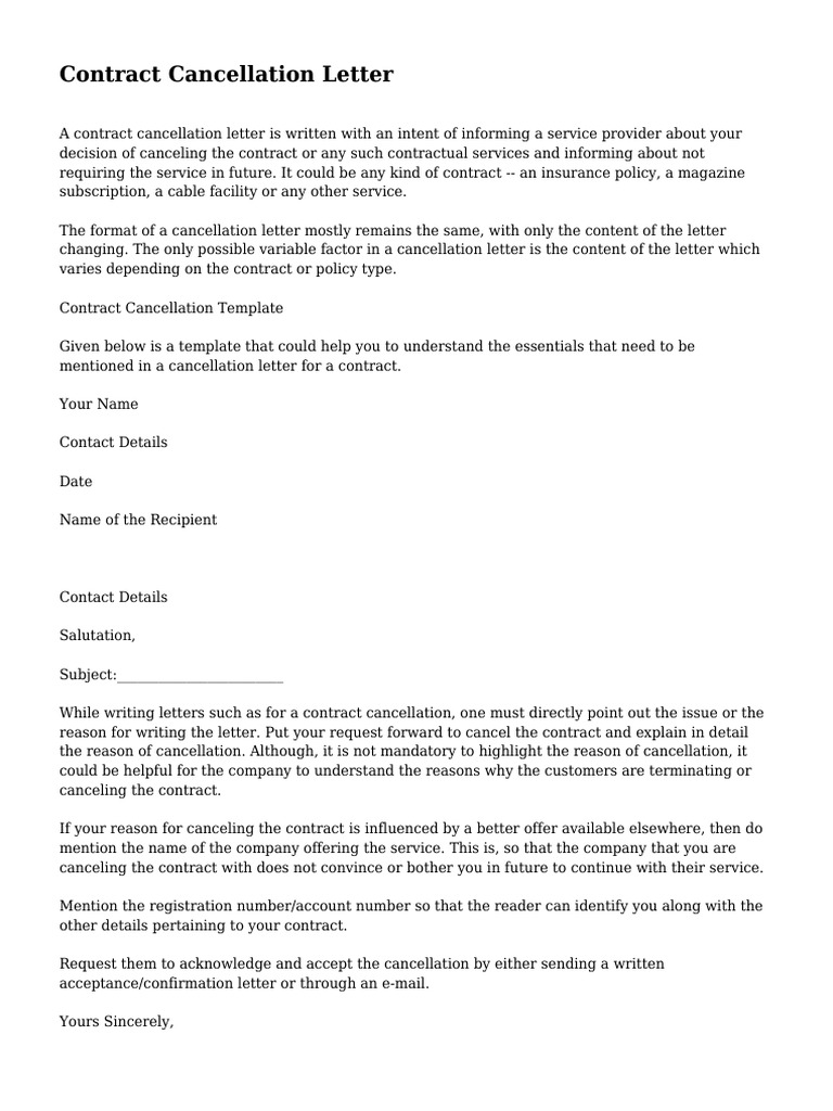 sample letter to cancel a contract