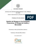 Gestion de Riesgos en Las Entidades Financieras El Riesgo de Credito y Morosidad