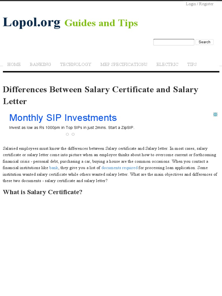 monthly salary certificate