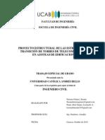 Proyecto Estructural de las Estructuras de Transición de Torres de Telecomunicación en Azoteas de Edificaciones