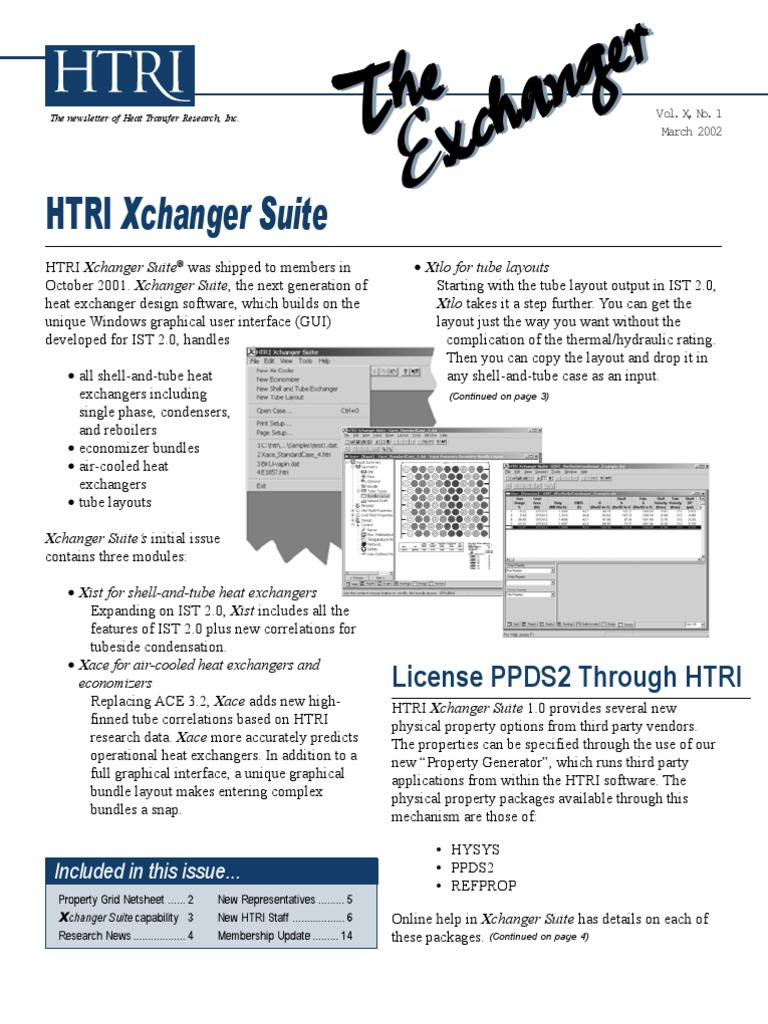 The Newsletter Of Heat Transfer Research Inc Heat Exchanger Graphical User Interfaces