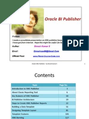 Oracle XML Publisher - by Dinesh Kumar S | Pl/Sql | Sql