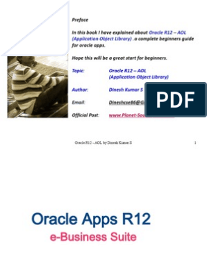 Oracle R12 AOL (Application Object Library) - by Dinesh