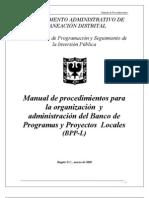 Actualizacion de Proyectos de Inversion en El Bpp-l