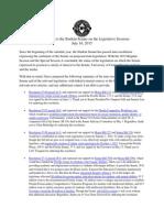 Status Report to the Student Senate on the Legislative Sessions
