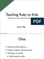 Teaching Ruby to Kids