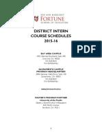 District Intern Course Schedules 2015-16