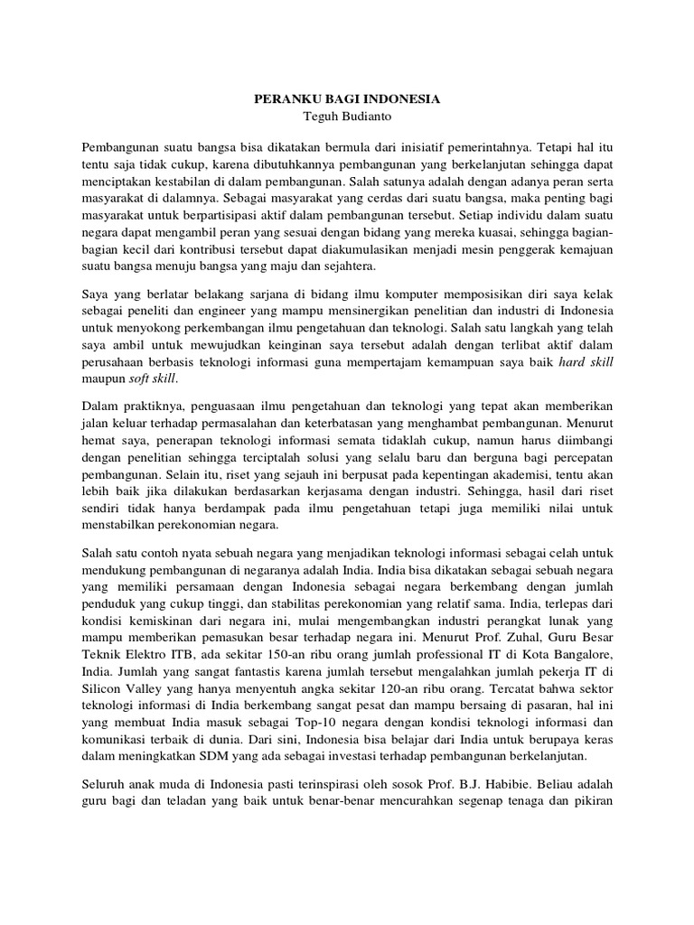 membuat essay peranku bagi indonesia